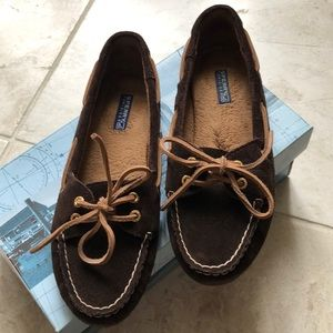Sperry Skiff Lace Dark Brown Suede Size 8